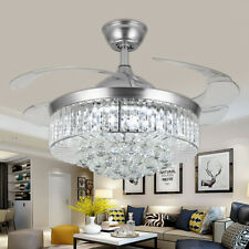 """New Listing36""""Silver Led Crystal Lighting Invisable Ceiling Fan Lamp Remote Chandeliers"""