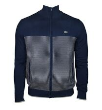 Lacoste Zip complet en coton à rayures Pull-Bleu marine-XXXL T8-AH6795-Bnwt
