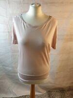 Mint Velvet Pink Scoop Neck Short Sleeve Jersey Top T-shirt Size 10