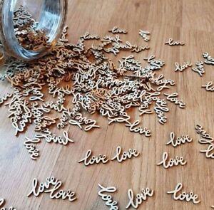 Wood Table Love Word Confetti Wedding Rustic Vintage Wedding Scatter Decor Love