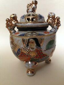 Vintage Japanese Satsuma Moriage Crackle Glaze incense pot - Stamped Foreign