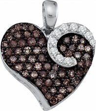 10k White Gold Round Brown Color Enhanced Diamond Heart Love Pendant 3/4Ctw