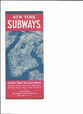 vintage 1960 new york subways map from union dime savings bank used good cond