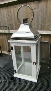Large Wood and Glass Candle Lantern