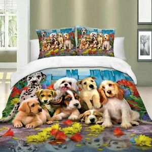 Dogs Pattern Print Queen King Super King Size Animal Duvet Cover Set Quilt Cover