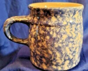Roseville Oh R.R.P. Co. Blue Spongeware Mug Mint Condition
