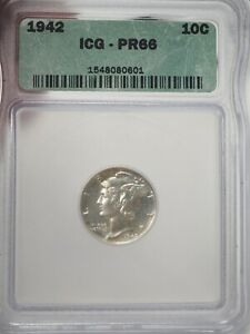 1942 10C ICG PR 66 PROOF 1942 MERCURY DIME Silver # 0601