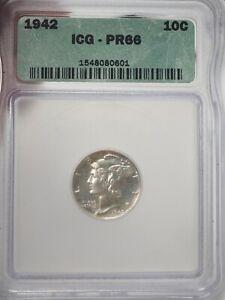 1942 10C ICG PR 66 PROOF 1942 MERCURY DIME Silver # 0601