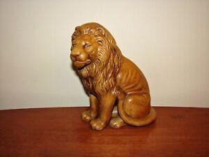 "Vintage Ceramic Hand Painted Sitting Lion Figurine/Statue - 8 1/2"" Tall"
