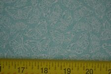 By 1/2 Yd, White Butterflies on Blue-Green Quilting Cotton, Wamsutta, M7860