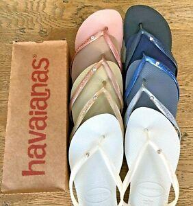 ORIGINAL For Havaianas Slim Crystal Flip Flops Women Sandals 13 Colours Summer