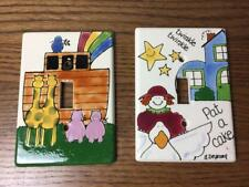 Lot of 2 NANCY DEYOUNG Handpainted Light SWITCH PLATE COVER Ceramic Tile