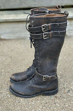 Frye Veronica Buckle Combat Tall Lace Up Black Boots Size 8
