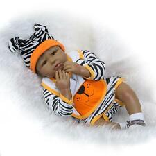 "22"" Reborn Baby Doll Black African American Silicone Vinyl Realistic Lifelike"