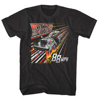 Back to The Future 88mph Streaking Flames Mens T Shirt DMC DeLorean Cartoon Fire