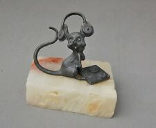 Paperweight Alabaster Pewter Sculpture Mouse Figure Tape Recorder Headphones 4""