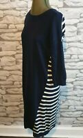 Boden Dress  Navy Blue White Stripe jumper dress Breton Nautical 8L tall women's
