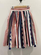 Natalie Alamein Pleated Red, White & Blue Midi Skirt Size S EUC