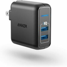 Anker Elite Dual Port 24W Wall Charger PowerPort 2 PowerIQ + Foldable Plug Black