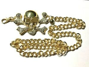 BELT BUCKLE - GOLD COLOUR SKULL HEAD AND BONES WITH CHAIN STYLE BELT
