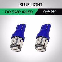 2x T10 7020 10SMD LED W5W BLUE Wedge Side Car Taillight Turn Signal Parking Bulb