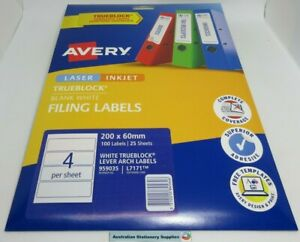 1 Pack of 25 WHITE Avery Laser Labels L7171 Lever Arch 4 labels per Sheet Trackd