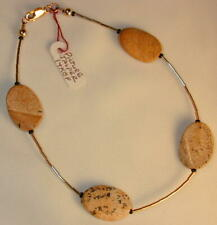 "Gold & Findings/ 10.25"" long/ Style#187A Picture Jasper Anklet 14k Gf Liquid"