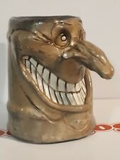 Handcrafted Studio Art Pottery Ugly Face Warthog Mug Tankard metallic green 5.5