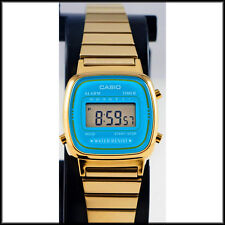 Casio LA670WGA-2 Ladies Digital Watch Gold Steel Band Blue Dial Retro New
