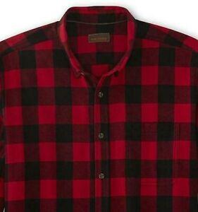 Big & Tall Flannel Shirt Men's Size 4XLT Red Black Buffalo Plaid NWT