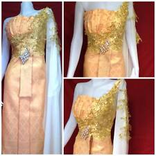 ROYAL THAI WEDDING DRESS SIAM GOLD BRIDAL TRADITIONAL DESIGN COSTUME EMBROIDERY