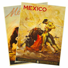 SET OF 2 - Mexican Bullfight 1930 Vintage Reprint Travel Posters 18x24 MEXICO