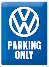VW Volkswagen Parking Only Blechschild Schild 3D geprägt Tin Sign 30 x 40 cm