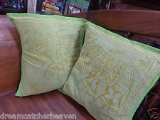 STUNNING1 X HANDMADE INDIAN ELEPHANT GOLD EMBROIDERED CUSHION COVER 40X40 RRP$15
