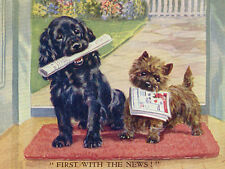CAIRN TERRIER & COCKER SPANIEL CARRY NEWSPAPERS CHARMING DOG GREETINGS NOTE CARD