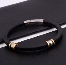 """Unisex Men Women's Stainless Steel Rubber Silicone Bracelet Black 8"""" G21"""
