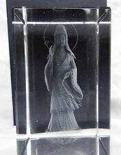 Crystal Block with Laser Etched Kwan Yin / Guan Yin Buddha - BNIB - Gift Box