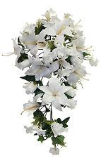 Light Cream Ivory Roses Lilies Cascade Bridal Bouquet  Silk Wedding Flowers Arch