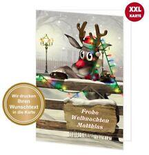 große maxi Weihnachtskarte lustig TEXT ÄNDERN Wunschtext DIN A4 mit Umschlag XXL