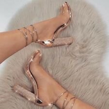 Women Peep Teo High Block Heels Strappy Lace Up Party Summer Sandals Shoes Size