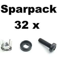 32 Sets Rackschrauben M6x20 + Unterlegscheibe Rand + Käfigmutter für Alu-Schiene