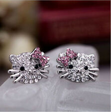 2 Pairs Lady Cat Bow-knot Silver Crystal Rhinestone Ear Stud Earrings