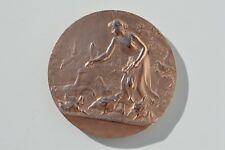 """Antique Nice French Art Nouveau """"Agricultural"""" Solid Bronze medal Lucien Coudray"""
