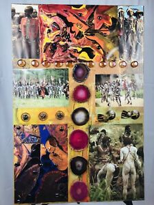Handmade Unique Abstract Mixed Media  Collage African Tribes Culture Wall Decor