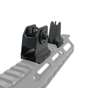 Tactical Fixed Iron Front and Rear Sights Set Black Finish