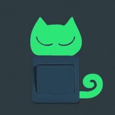 Fluorescent Cute Cat Light Switch Decal Art Wall StickerGlow In The Dark DECOR