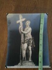 Vintage Michaelangelo Sculpture Iridescent Blue Old Paper Art Scrapbook