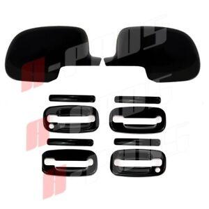Fit CADILLAC Escalade 2002-2006 BLACK GLOSS Cover Full Mirrors Door Handles KeyH