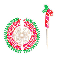 Festive Party Time Christmas Cocktail Stick Toppers - Candy Cane (50 Pack)