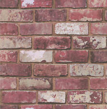 Designer Alex Hemingway Red Brick Print Wallpaper